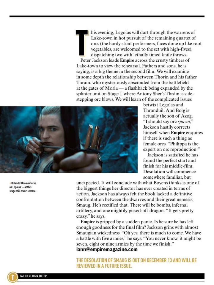 The Hobbit: The Desolation of Smaug - Empire Magazine (Aug 2013)