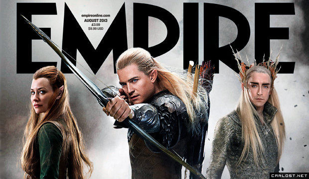 Evangeline Lilly (Tauriel), Orlando Bloom (Legolas), Lee Pace (Thranduil) - Empire Magazine (Aug 2013)
