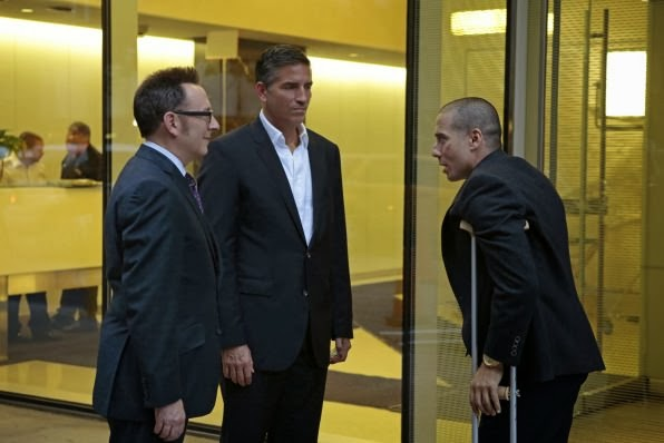 Michael Emerson, Jim Caviezel y Kirk Acevedo en Person of Interest 3.06