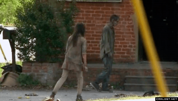 Walkers grabando The Walking Dead