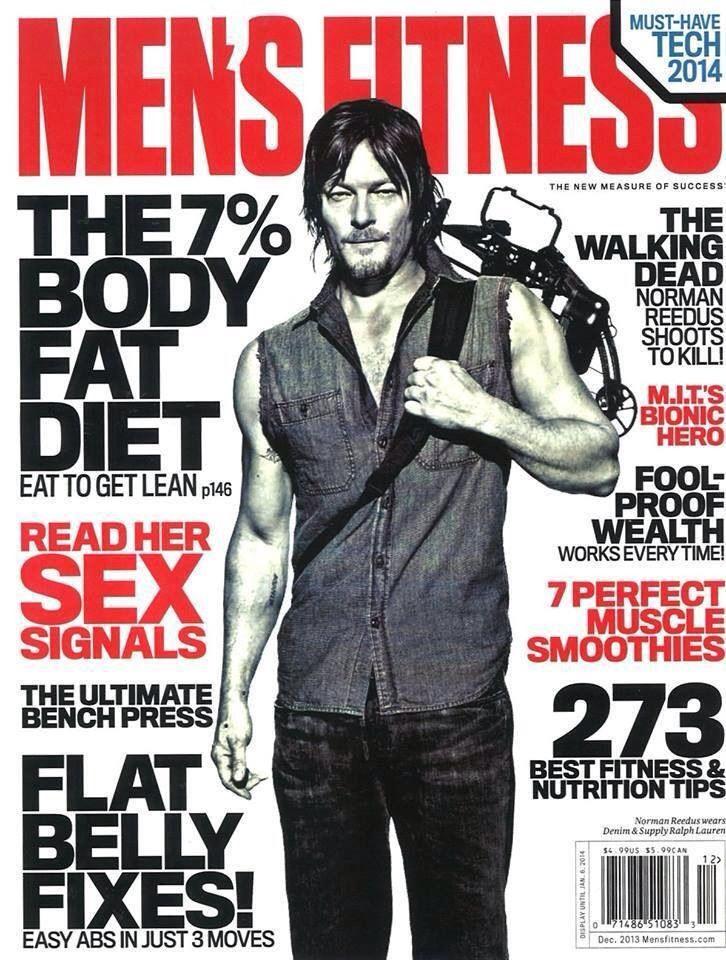 Norman Reedus como Daryl Dixon en la portada de Men's Fitness Magazine (Diciembre 2013)