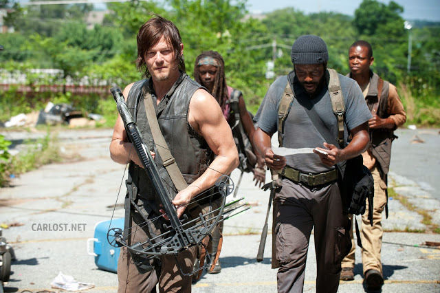 Daryl, Michonne, Tyreese y Bob en The Walking Dead 4.04 Indifference