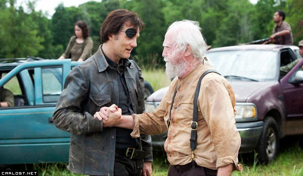 David Morrissey y Scott Wilson en el set de The Walking Dead 4x08