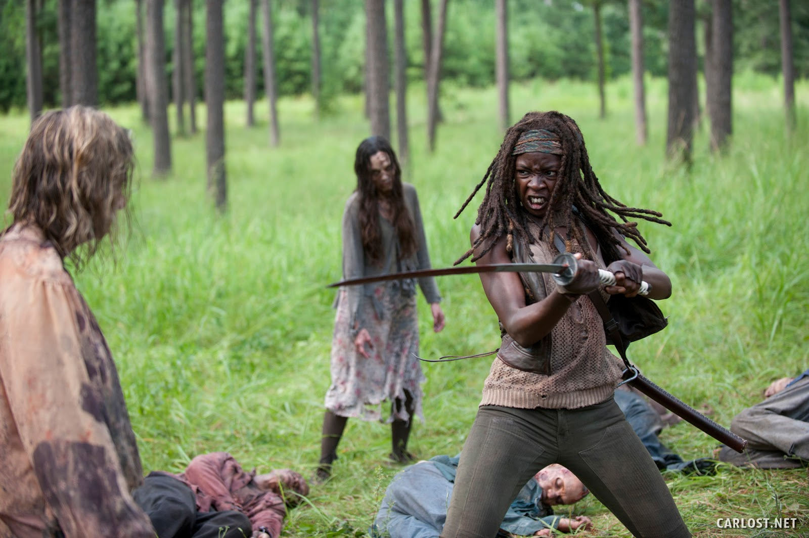 Michonne (Danai Gurira) matando algunos caminantes con su katana en The Walking Dead 4x09 After