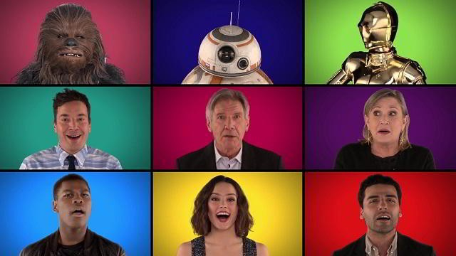 Elenco de Star Wars cantando con Jimmy Fallon y The Roots