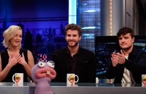 Jennifer Lawrence, Liam Hemsworth y Josh Hutcherson en El Hormiguero (Noviembre 2015)