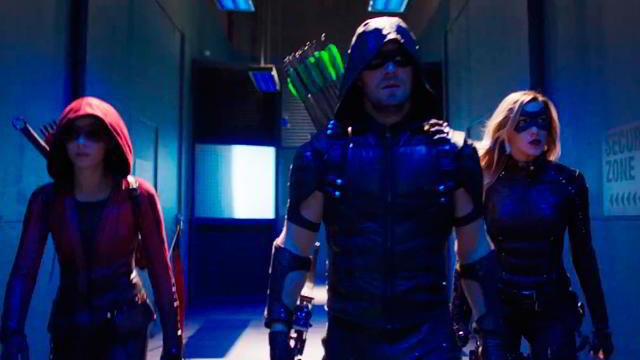 Thea (Speedy), Oliver (Green Arrow) y Laurel (Black Canary) en Arrow 4x11 (Promos)