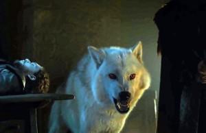 Jon Snow y Ghost en Game of Thrones 6x01 The Red Woman