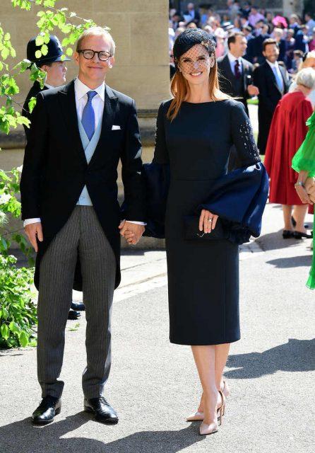Santtu Seppälä y Sarah Rafferty en la boda de Meghan Markle y el príncipe Harry