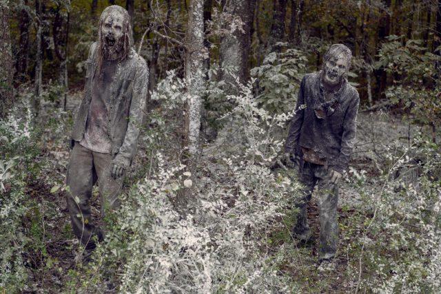 Walkers en la nieve, en The Walking Dead 9x16 The Storm (La Tormenta)