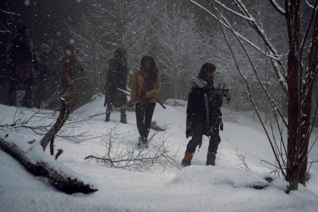 TWD 9x16 - Norman Reedus como Daryl Dixon, Danai Gurira como Michonne, Khary Payton como Ezekiel, Melissa McBride como Carol Peletier, Cooper Andrews como Jerry