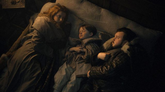 Gilly, Samwell y su hijo en Game of Thrones 8x02