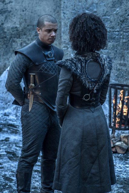 Gusano Gris y Missandei en Game of Thrones 8x02