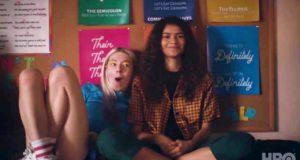 Hunter Schafer como Jules Vaughn y Zendaya como Rue Bennett en Euphoria (Bloopers)