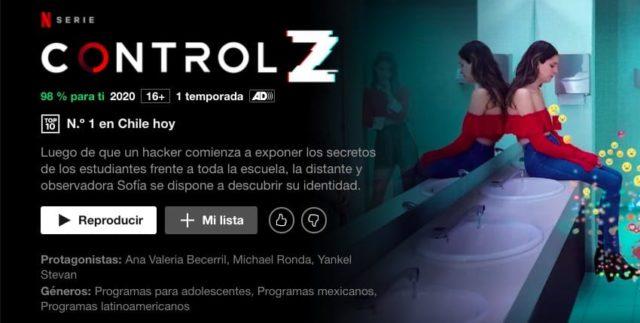 TOP 10 Netflix - La serie Control Z en el Nº1  de lo más visto hoy en Chile  (29 de mayo 2020)