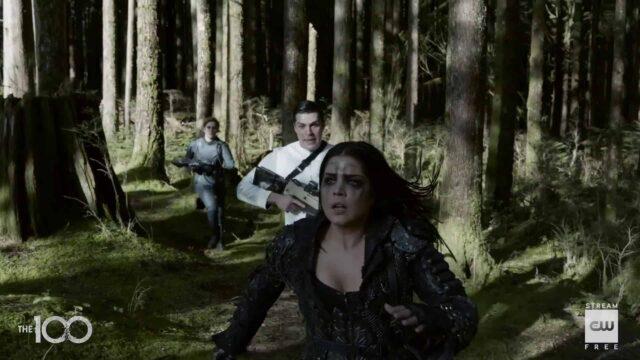 Echo, Levitt y Octavia en The 100 7x16 The Last War (Series Finale)
